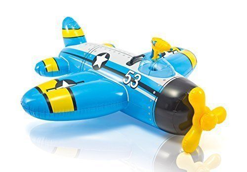 Intex Blue Plane With Water Gun Inflatable Kids Ride On Swimming Pool Toy