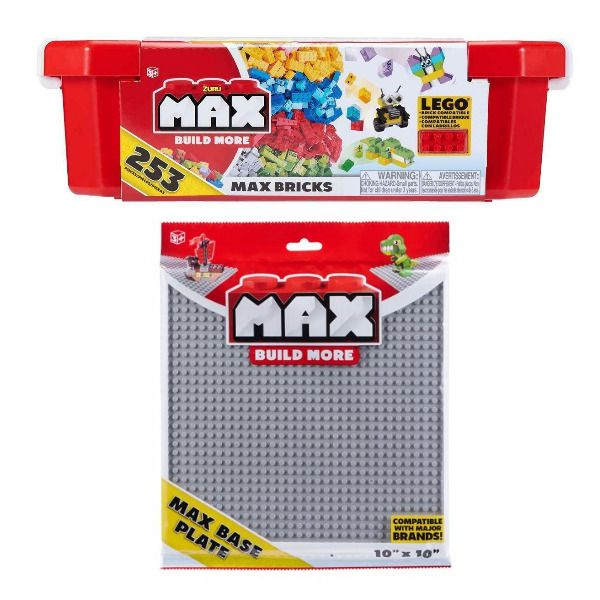 Max Build More Building Bricks By Zuru Includes Grey Base Plate