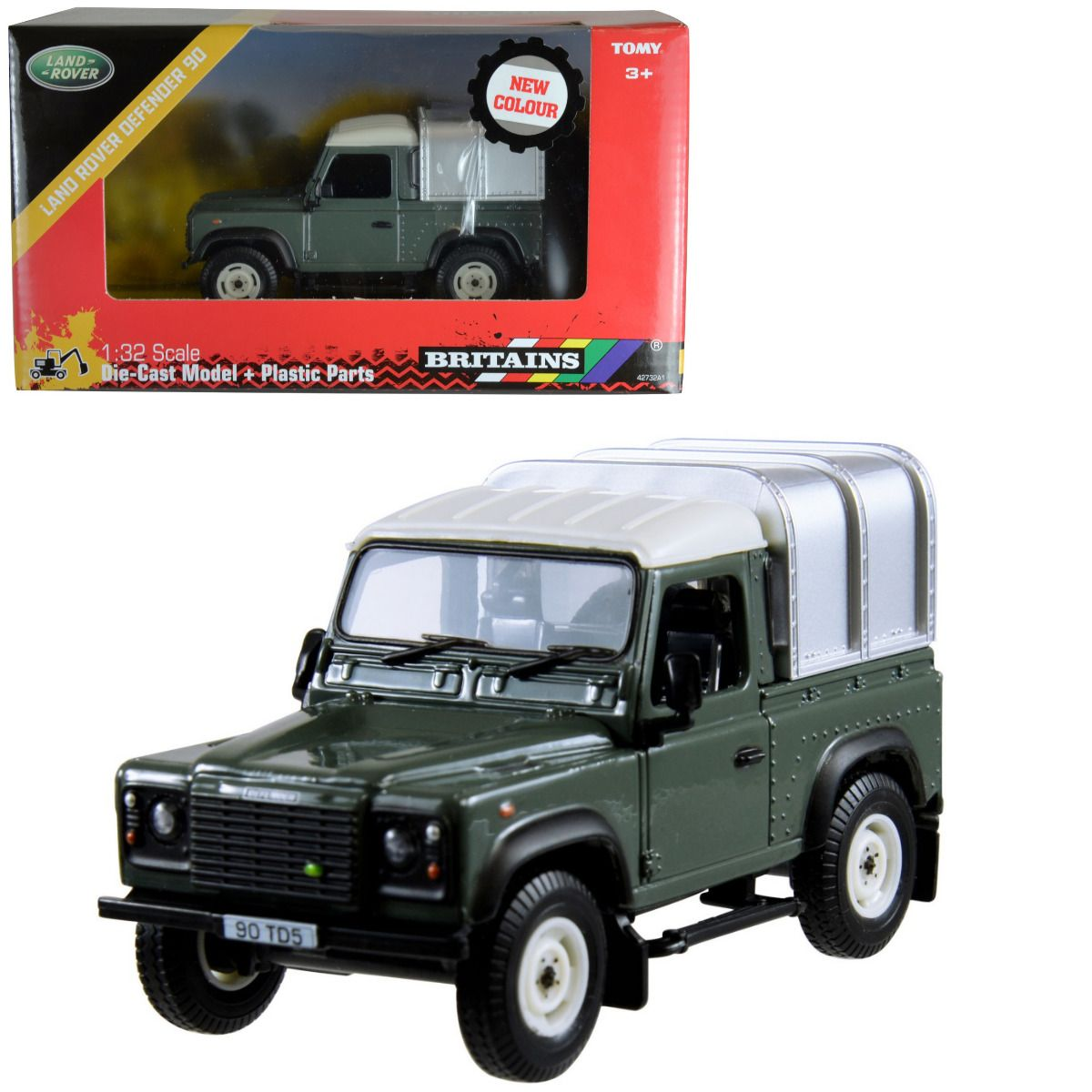 Tomy Britains Green Land Rover Defender 90 4 X 4 Toy Farm