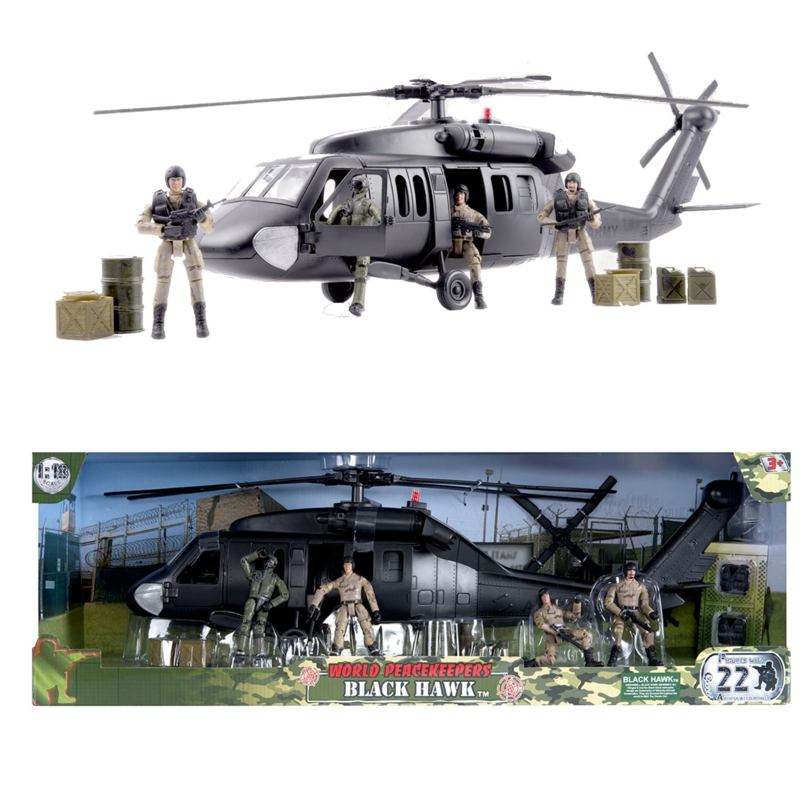 World Peacekeepers Black Hawk Army Military Helicopter Toy & 4 Figures